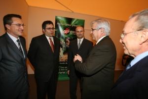 Enrique Ruz (Presidente de ACCEDA), con el Ministro de Industria Joan Closs, y Eudald Domenech y Juan Soto de TECHFOUNDRIES